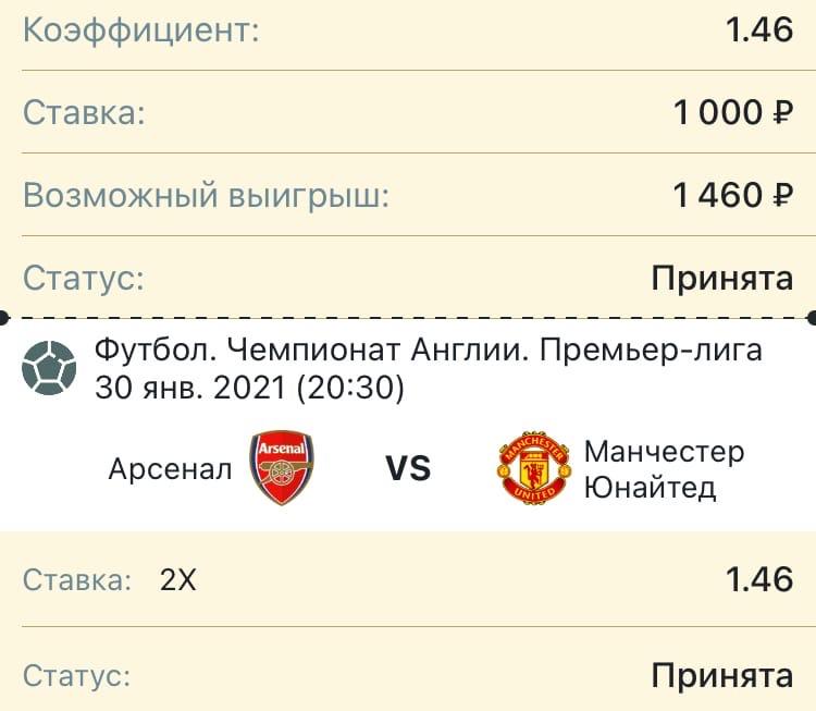 Прогноз на матч: Арсенал - Манчестер Юнайтед  30 января 2021 года.
